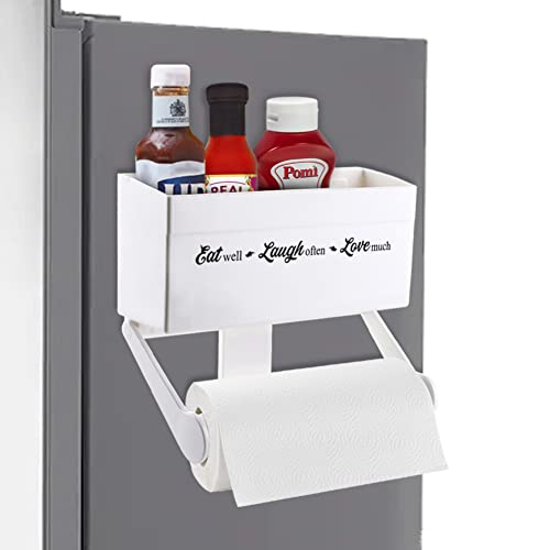 Magnetic Paper Towel Holder for Refrigerator with Storage Shelf
