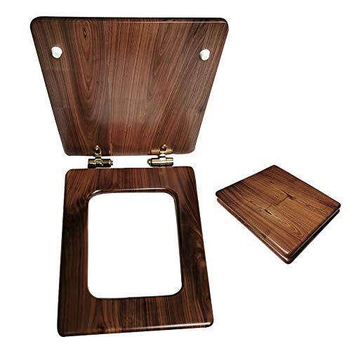 Zachte Sluiten Zwart Walnoot Toilet Deksel Zit, Toilet Stoel bedrade met Stain Steel Hinges, Duurzame Fittings voor Badjas, Heavy Duty Wooden, Gemakkelijk te monteren (personaliseren)