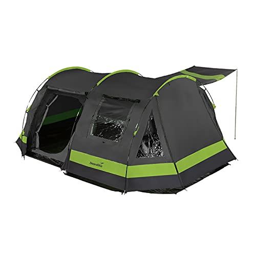 Skandika Kambo Tunnelzelt für 4 Personen | Zelt mit Schlafkabine für 4 Mann, Wasserdicht mit 3000 Wassersäule, 3 Eingänge, Sonnendach, Vorzelt | Campingzelt in anthrazit/grün