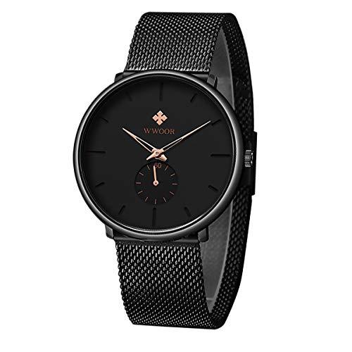 WWOOR Reloj de Pulsera para Hombre Esfera De Cuarzo Negro Dial Correa Relojes para Hombres Reloj Militar