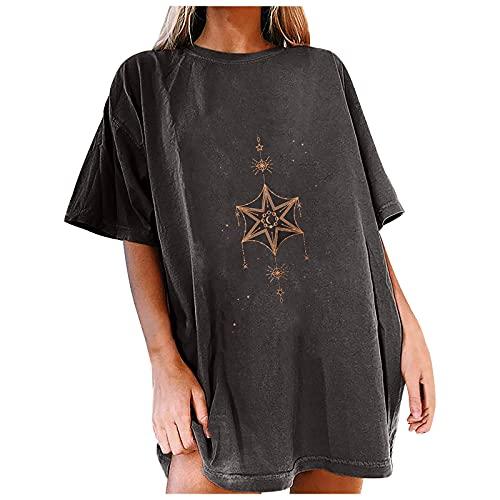 Camiseta de manga corta para mujer, diseño retro, con costuras de hilado, tallas grandes, bordada, manga corta, ropa deportiva, sexy, con base de encaje, temperamento. azul XXL