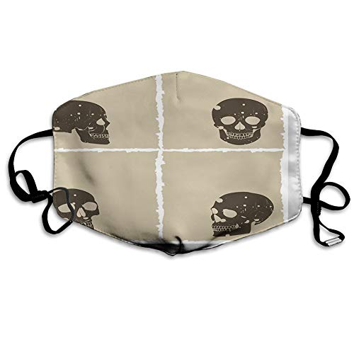 Reusable half bandanas M-shaped nose clip ,Skull Figure on Murky Flat Framework Halloween Crossbones Spooky Monster Image,breathable sports mouth cover
