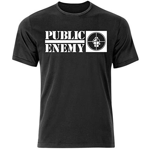 Camiseta de manga corta con diseño que dice Public Enemy (S-3XL) negro negro Talla única