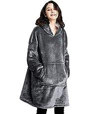 Prettyui - Oversized Sherpa Hoodie, Draagbare Hoodie Sweatshirt Deken, Super Zachte Warm Comfortabele Deken Hoodie, One Size Past Alle,Spa, Badjas, Sweatshirt, Fleece, Pullover, Deken (Grijs)