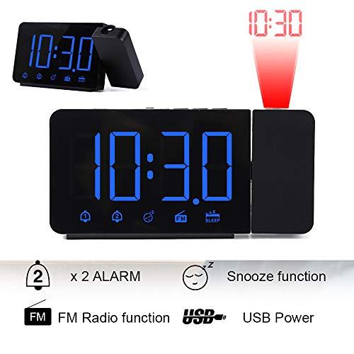 Konesky Projektionswecker, Digitale LED-Anzeige, FM Radiowecker, Schreibtisch/Regaluhr mit Snooze Funktion, USB Aufladung, Dual Alarm, Einschlaftimer (Blaue Anzeige)