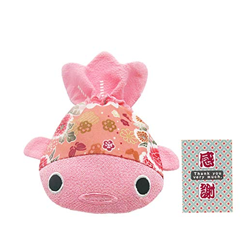 BARbee Japanese Chirimen & Kimono Print Fabric Goldfish Drawstring Pouch Coin Purse Cosmetic Jewelry Key Travel Storage Bag for women accessory with Studs Clamp Hair Clip Watches (Large, Pink)