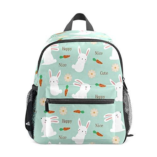 Mochila infantil para niños de 1 a 6 años de edad, mochila perfecta para niños y niñas lindos conejos, zanahorias, flores, azul claro