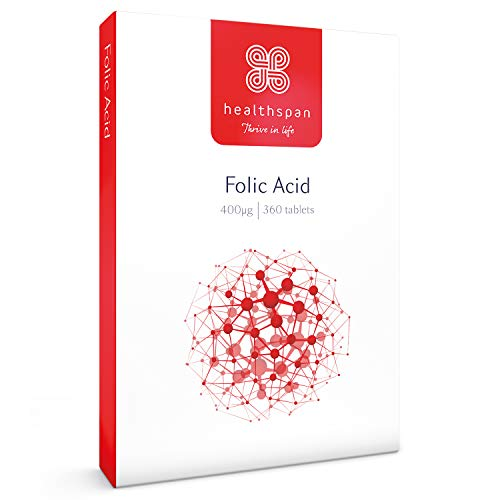 Folic Acid 400μg | Healthspan | 360 Tablets | Vitamin B9 | High Strength Formulation | Early Pregnancy | Planning to Conceive | Vegan