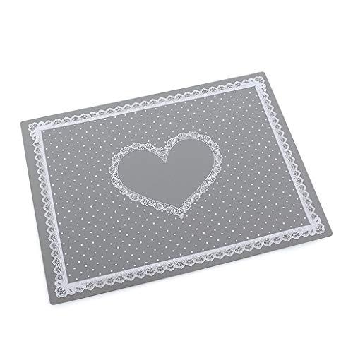 Süße Herz-Epoxidharz-Silikonmatte Harz-Pad zum Basteln, hohe Temperaturbeständigkeit, klebrige Platte zur Schmuckherstellung., Lebensmittelechter Silikon., grau, M