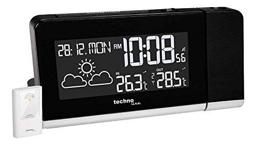 Technoline Projektionswecker WT 539 mit Funkuhr, Innen-/Außentemperaturanzeige, Wettervorhersage und Anzeige mit Farbwechsel (schwarz mit Batterien)