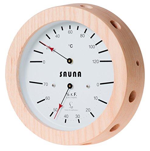 Feingerätebau K. Fischer GmbH lufft–Sauna climática Cuchillo con higrómetro de Cabello Synthetic, combina con bimetal de termómetro, Real Carcasa de Madera Diámetro 155Mm