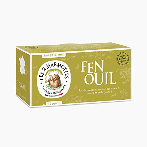 "Les 2 Marmottes - Infusion ""Fenouil"" 30 sachets - Fenouil - Made In France - Sans arômes ajoutés"
