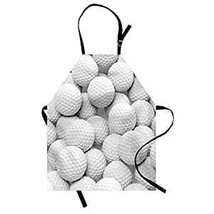 Lunarable Sports Apron, Pile of Realistic Golf Balls Together Closeup Picture Challenge Entertainment Joyful, Unisex Kitchen Bib with Adjustable Neck for Cooking Gardening, Adult Size, White Grey