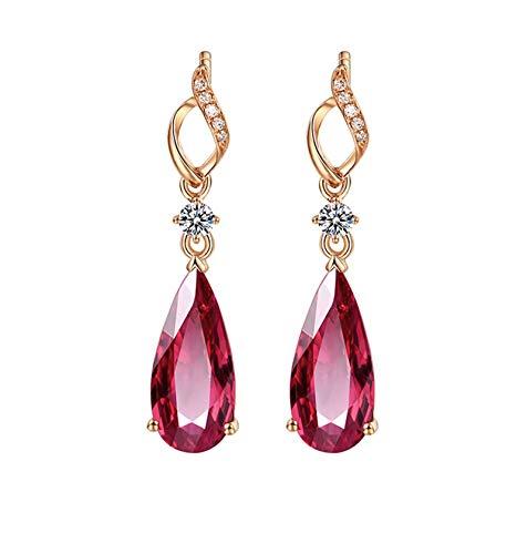 KnSam Boucle d'Oreille Femme Fine Tourmaline Rouge Naturelle 2.98ct, Or Rose 18 Carats Élégance Cadeau Noël