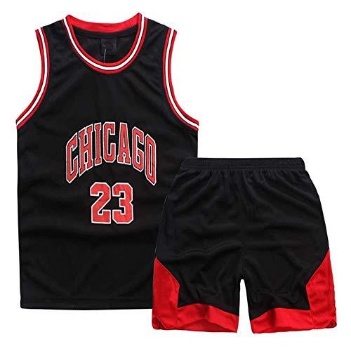 ASSD Niño Niña Jerseys del Baloncesto Set - NBA Michael Jordan Chicago Bulls # 23 Baloncesto Uniforme Camisa Chaleco del Verano Pone en Cortocircuito (Color : Black, Size : XXXS)
