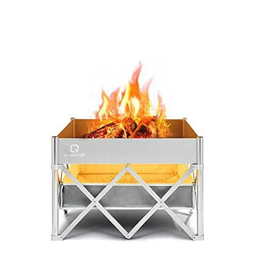 24'' Instant Fire Pit with Heat Shield (Ash Pocket), OT QOMOTOP Portable Outdoor Fire Pit Without...