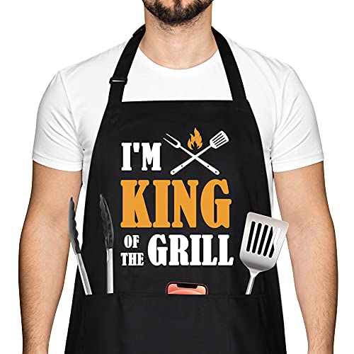 Funny BBQ Grilling Aprons for Men, Gifts for Men, Dad Gifts - Best Fathers Day Grilling Gifts for Dad Stepdad from Wife - Christmas Birthday Gifts for Dad Grandpa Brother Boyfriend, Chef Apron