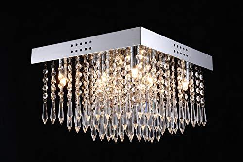 Asvert Modern Kristall Kronleuchter LED Kristall Deckenleuchte Modern Hängelampe Lüster für Villa Hotel Wohnzimmer Esszimmer usw. (S-4)