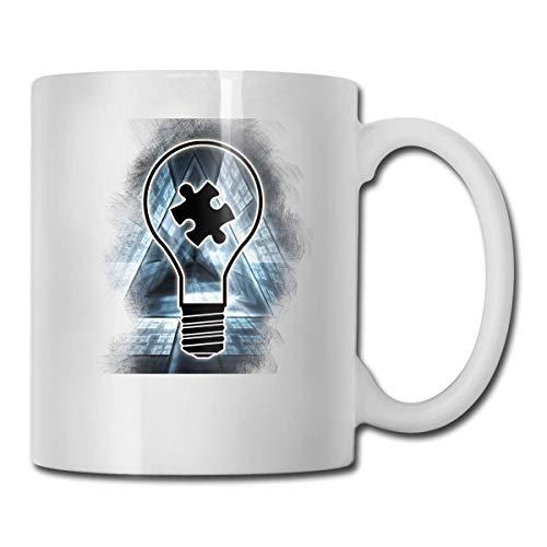 Lightbulb Autism Awaren Best Idea de regalo, divertida taza de café blanca de cerámica