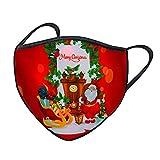 Alueeu LED Mundschutz Weihnachten Erwachsene Stoff Halstuch mit LED-Licht 3D Druck Bandana Maske Multifunktionstuch mit Motiv Mehrweg