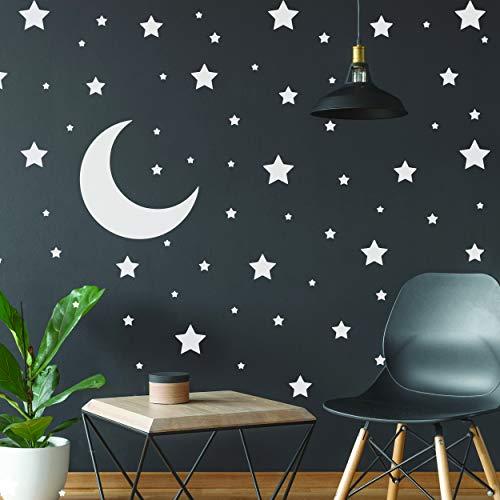Pegatinas de estrellas blancas – Decoración de pared de recámara temática de espacio – Calcomanía de estrellas luna cuarto de bebé calcomanías para pared – 220 pegatinas