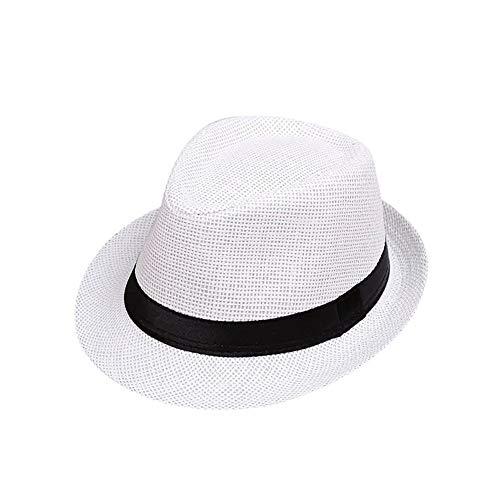 Children's zonnehoed kinderen zomer strand strooien hoed jazz panama stam fedora hoed britse hoed ademend babymutsje meisjesjongen zonneklep (Color : C001 2)