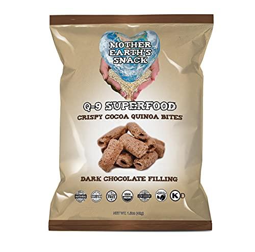 Q-9 SuperFood Bites | Crispy Cocoa Quinoa Wafers w/ Fine Italian Dark Chocolate | Organic | Gluten-Free | Non-GMO | 4 Ct (1.5 oz.)