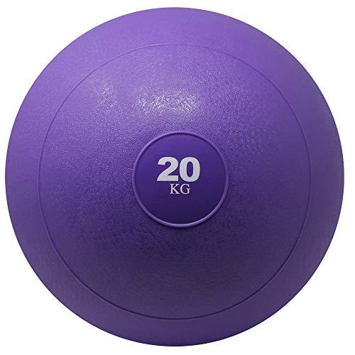 POWRX Slam Ball Balón Medicinal 20 kg - Ideal para Ejercicios de »Functional Fitness«, fortalecimiento y tonificación Muscular - Contenido de Arena y Efecto Anti-Rebote + PDF Workout (Viola)
