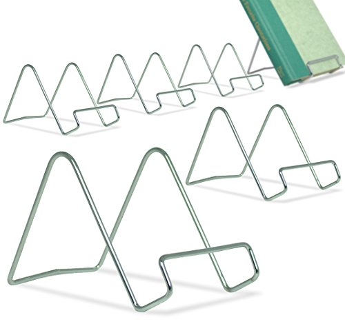 BANBERRY DESIGNS Silver Wire Easel Display Stand - Smooth Chrome Metal - 3 Inch - Pack of 6…