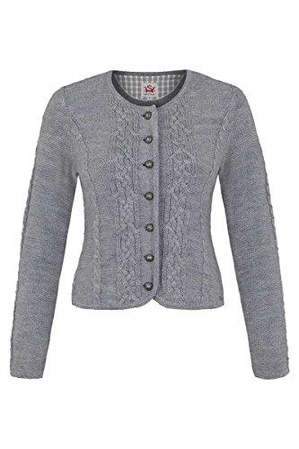 Spieth & Wensky Damen Damen Trachten Strickjacke mit Zopfmuster grau, grau, XS