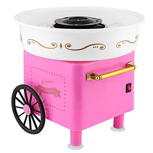 Zuckerwattemaschine für Zuhause, Cotton Candy Machine mit Stäbchen und Löffel, aus Edelstahl und Kunststoff, 23.5 x 22 x 27.5 cm, Rosa, Rot
