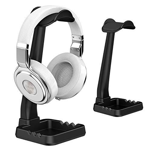 Universal Kopfhörerständer Aufhänger mit Handyhalter für Sony Bose Shure Jabra JBL AKG TATEGUARD Gaming-Headset und Headset Montieren Aufhänger Zubehör für Schreibtisch Organisation Display Schwarz