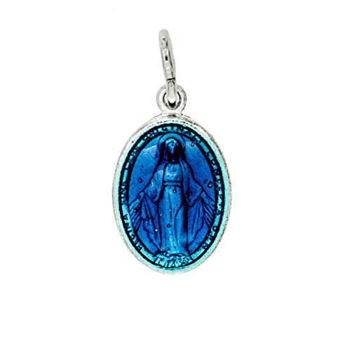 Padre Nostro Medalla Virgen Milagrosa de Plata 925 esmaltada Azul