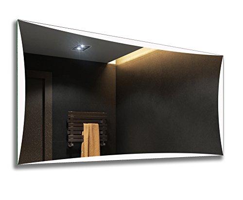Artforma Badspiegel 120x70cm mit LED Beleuchtung | Wählen Sie Zubehör - Bad Licht Spiegel Individuell Nach Maß | Beleuchtet Wandspiegel Lichtspiegel Badezimmerspiegel | Energiesparend A++ L77