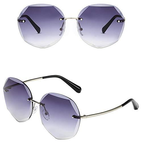 Ashtray Gafas de Sol graduadas para Mujer, Gafas de Sol sin Montura de Metal con Bordes Cortados, adecuadas para Conducir, Correr, Andar en Bicicleta, Viajar, etc,2