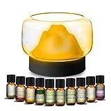 MEVA 400 ml difusor aceite aromas esencial aromaterapia con 10 esencias de REGALO, 7 colores LED, humificador de aceite esencial (Montaña 7 Colores)