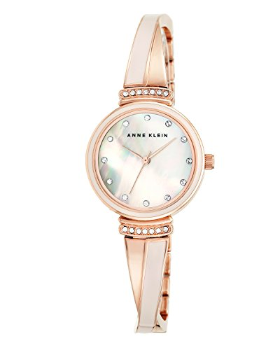 Anne Klein Women's AK/2216BLRG Premium Crystal-Accented Rose Gold-Tone and Blush Pink Bangle Watch
