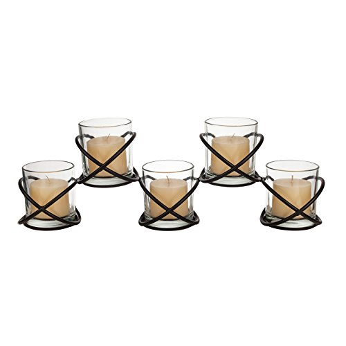 Elegant Metal and Glass Candle Holder