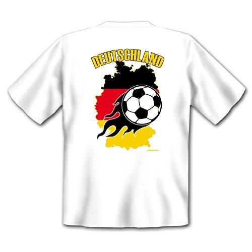 Fan T-Shirt mit Rückendruck Bundesliga Fussball Fußballer zum Geburtstag Fussballfan Geschenk Motiv Deutschlandkarte Fußball Gr. XXL in weiss : )