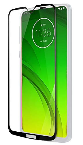 Hupshy® Moto G7 Tempered Glass Screen Protector Full Glue Edge To Edge Fit 9H Hardness Bubble Free Anti-Scratch Crystal Clarity Screen Guard for Moto G7 - Black