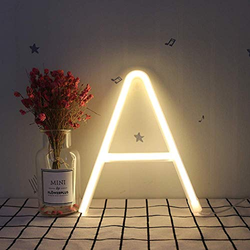 GYC Neon Alphabet A Lamp 26 Letters Led Night Light for Birthday Wedding Party Bedroom Wall Hanging Decor