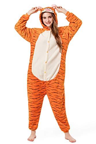 Grilong Unisex Adult Animals Pajamas Onesie Cosplay Costume Cute Sleepwear, Large9_tiger