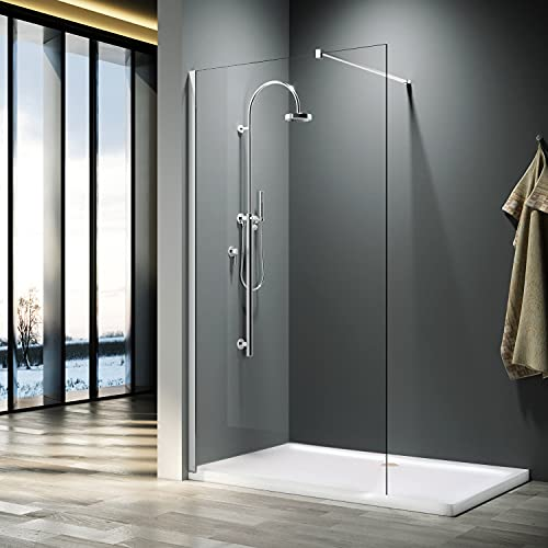 ELEGANT 1000mm Wet Room Shower Enclosure Easy Clean Screen Panel with 800x1600mm Walk in Stone Shower Tray and Waste