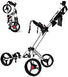 TUHFG Carrito de golf con empuje, 360, giratorio 3 ruedas, plegable, con soporte para paraguas, tarjeta de mando y soporte para bebida, un segundo para abrir y cerrar