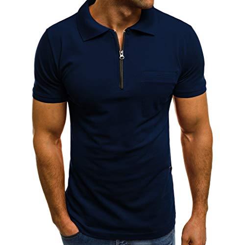 Celucke Polohemd Poloshirt Herren Brusttasche Reißverschluss Einfarbig Basic Kurzarm Polohemden, T Shirt Männer Polo Hemd Kurzarmhemd Sweatshirt Herrenhemden Kurzarmshirt Sportshirt (Blau,L)