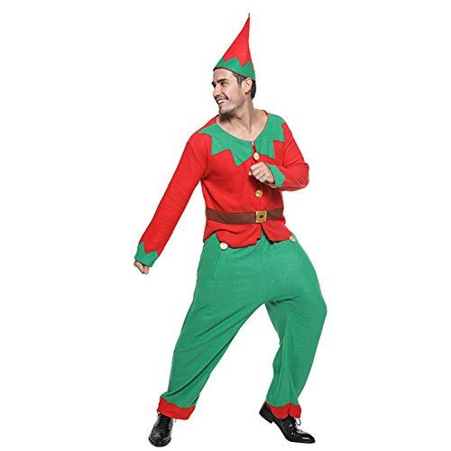 DHRGFWG Kerst Heren Kostuum Cosplay Mannen Jaar Party Outfit Top Broek Hoed Set