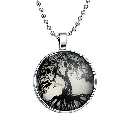 Feilok Collar con colgante luminoso con patrón de árbol grande para unisex, color azul emisor