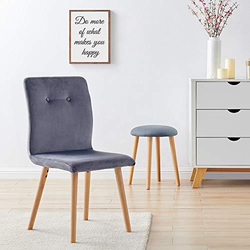 Marca Amazon -Movian Wye - Juego de 2 sillas de comedor, gris