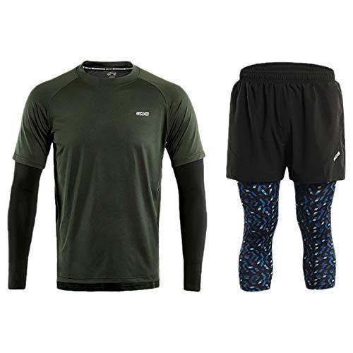 ARSUXEO - Juego de camisas y pantalones cortos para hombre, color azul, Hombre, color Verde A, tamaño EU L / Asian XL