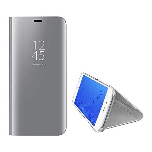 Yobby Spiegel Hülle für Google Pixel 3a XL,Ultra Slim Tasche Handyhülle Technologie Überzug Flip Case mit Clever Fenster Aussicht,360 Grad Komplett Stoßfest Stand Schutzhülle-Silber